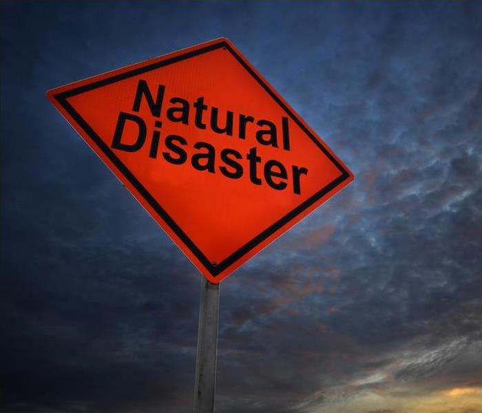 large red diamond shape sign with Natural Disaster written in large black print